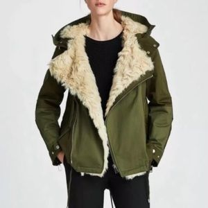 Zara Fur Lined Quilted Parka Coat